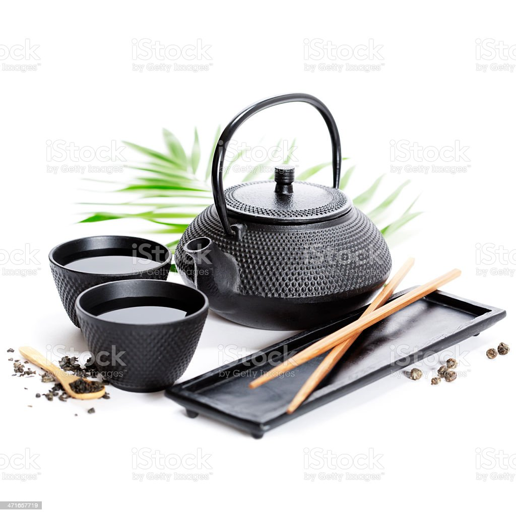 Green tea and chopsticks royalty-free stock photo