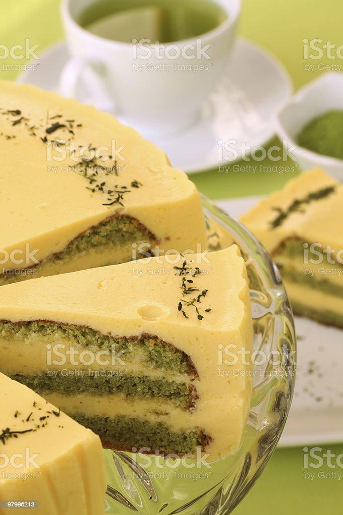 Green tea and lemon cake royalty-free stock photo