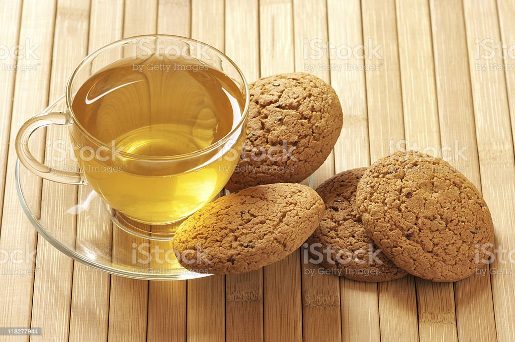 Green tea and oatmeal cookies royalty-free stock photo