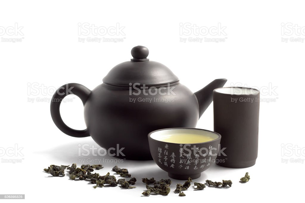 green tea and teapot stock photo