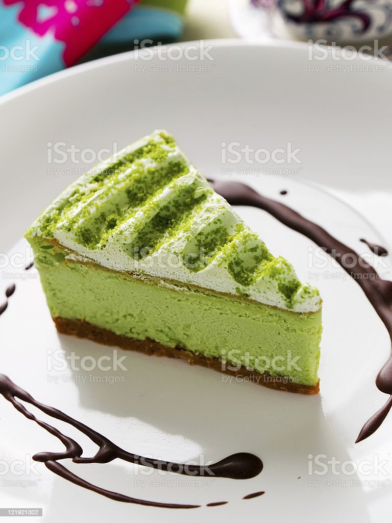 Green Tea Cake royalty-free stock photo