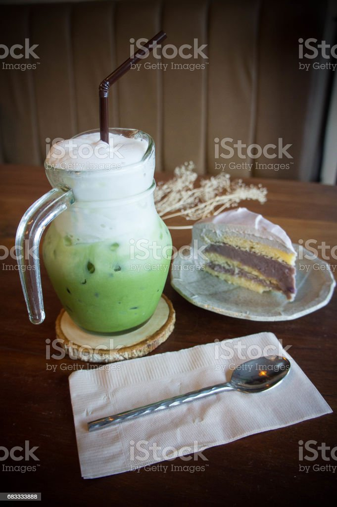 green tea cool milk and tasty cake in coffee shop royalty-free stock photo