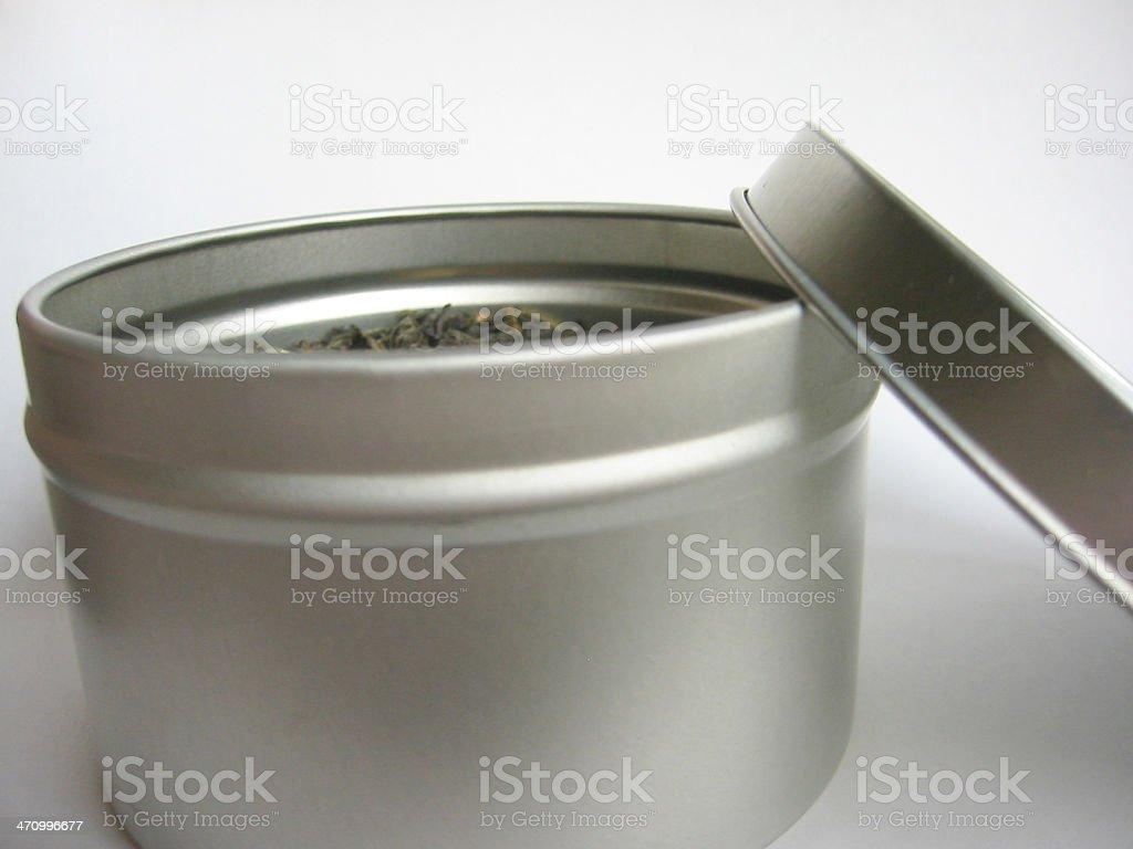 Green tea in a tin royalty-free stock photo