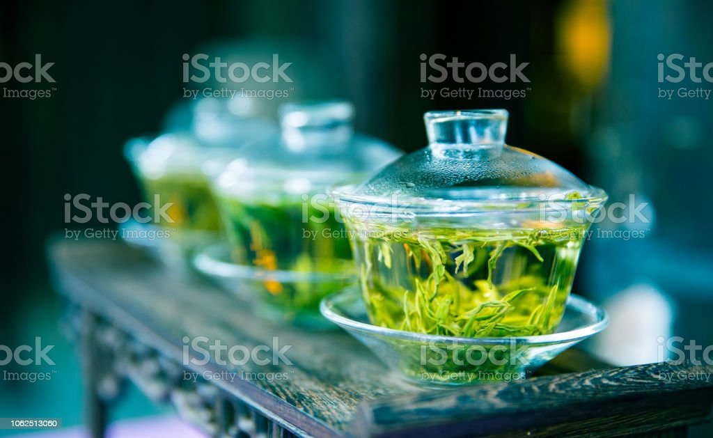 Green tea in cup stock photo