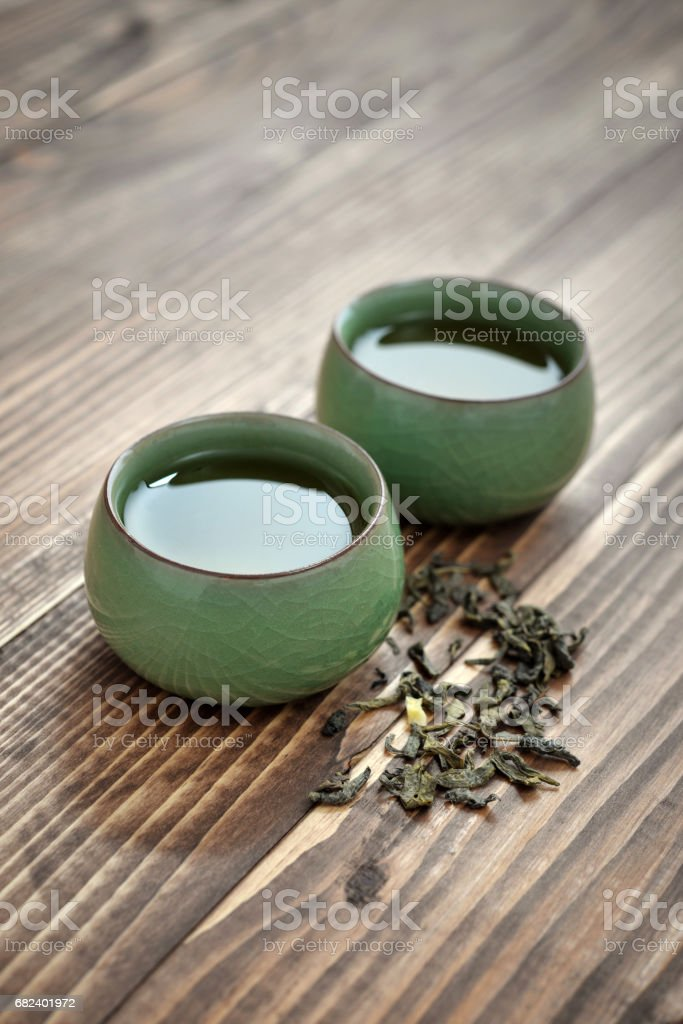 Green tea in cups royalty-free stock photo