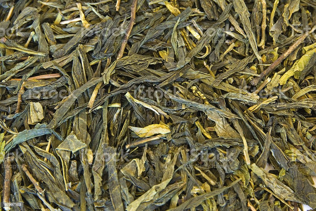 Green tea leaves background royalty-free stock photo