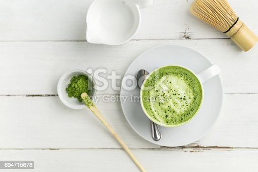 Matcha latte cup on white background from above. This latte is a delicious way to enjoy the energy boost & healthy benefits of matcha. Matcha is a powder of green tea leaves packed with antioxidants.