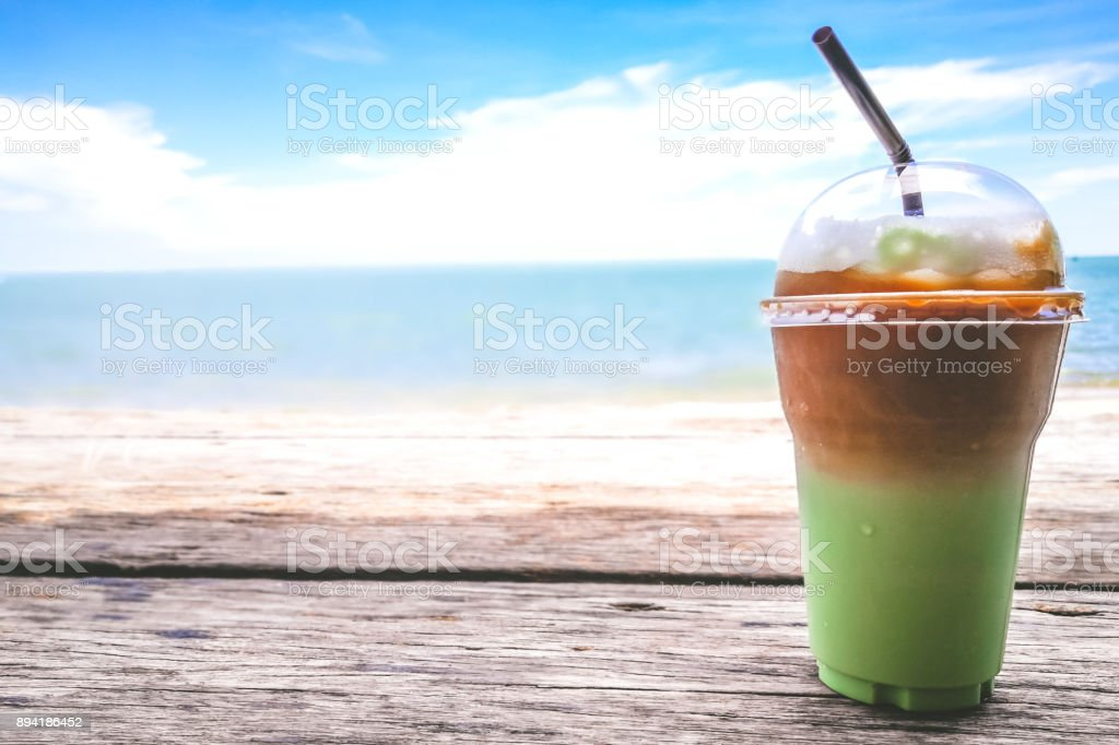 Green Tea Mocca for chillax moment by the sea. stock photo