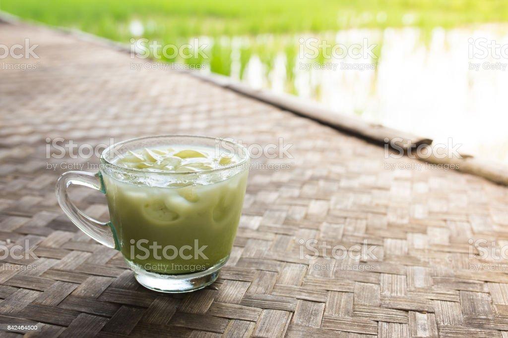 Green tea mug stock photo