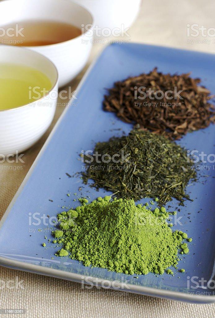 Green tea selection stock photo