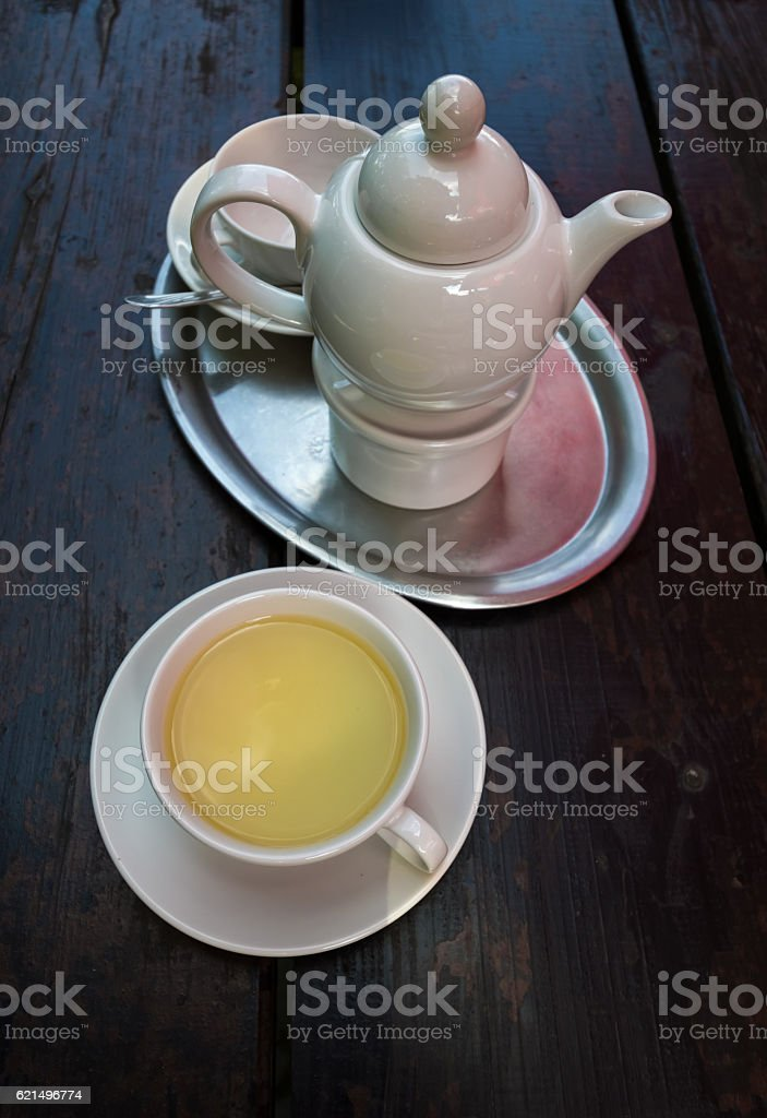 Green tea teapot foto stock royalty-free