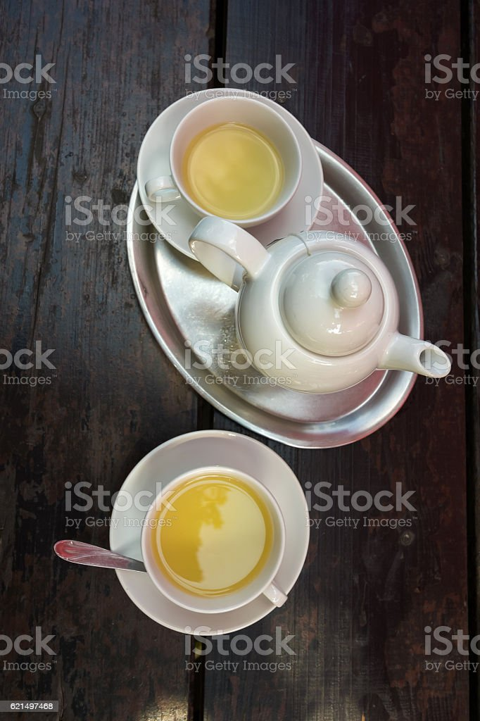 Green tea teapot foto stock royalty-free