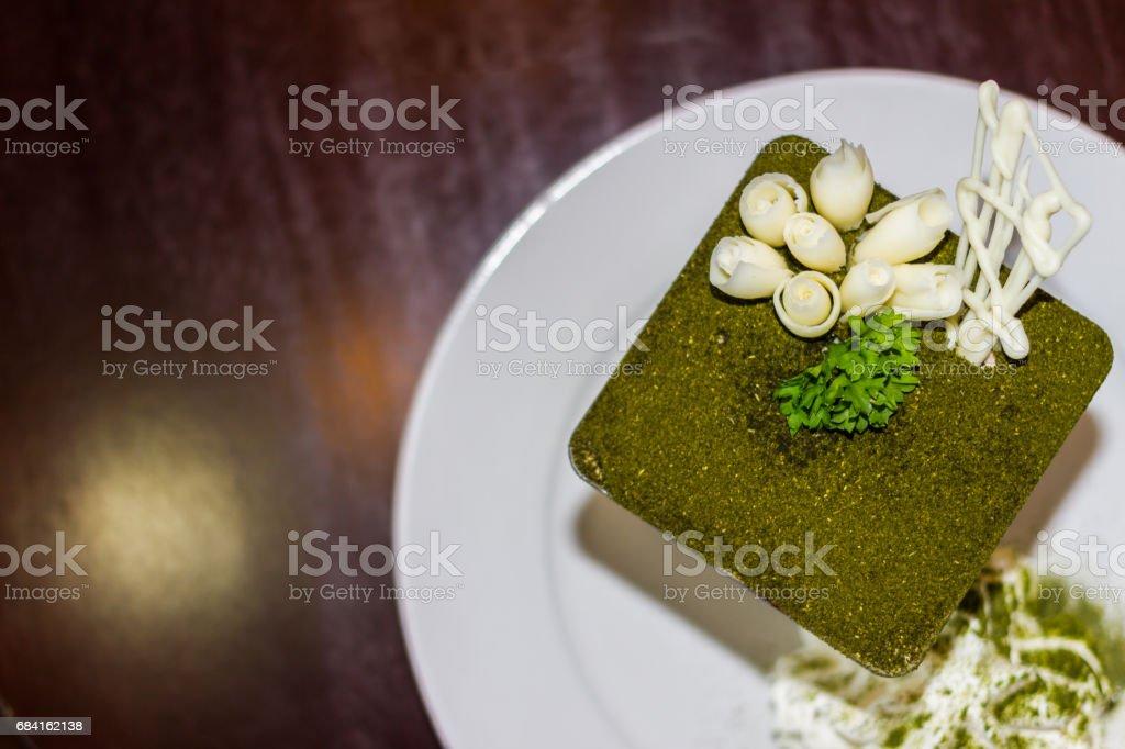 Green tea tiramisu with green tea powder royalty-free stock photo