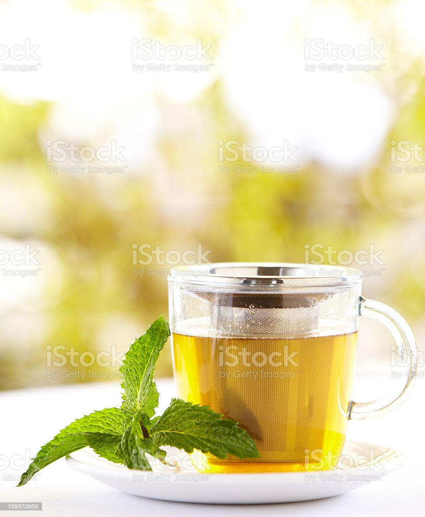 Green tea with a mint leaf outdoors stock photo