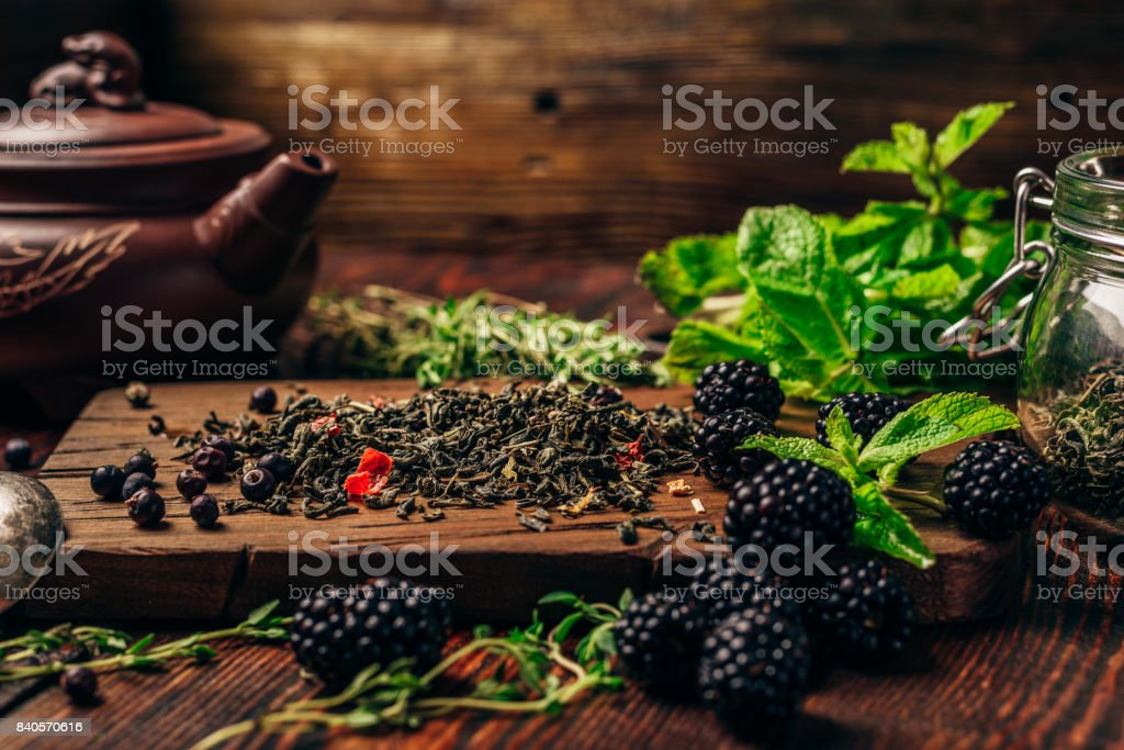 Green Tea with Blackberry, Mint and Thyme. stock photo