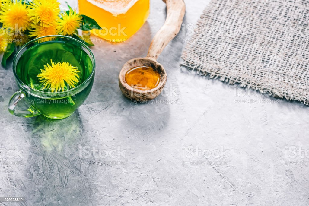 Green tea with dandelion honey royalty-free stock photo