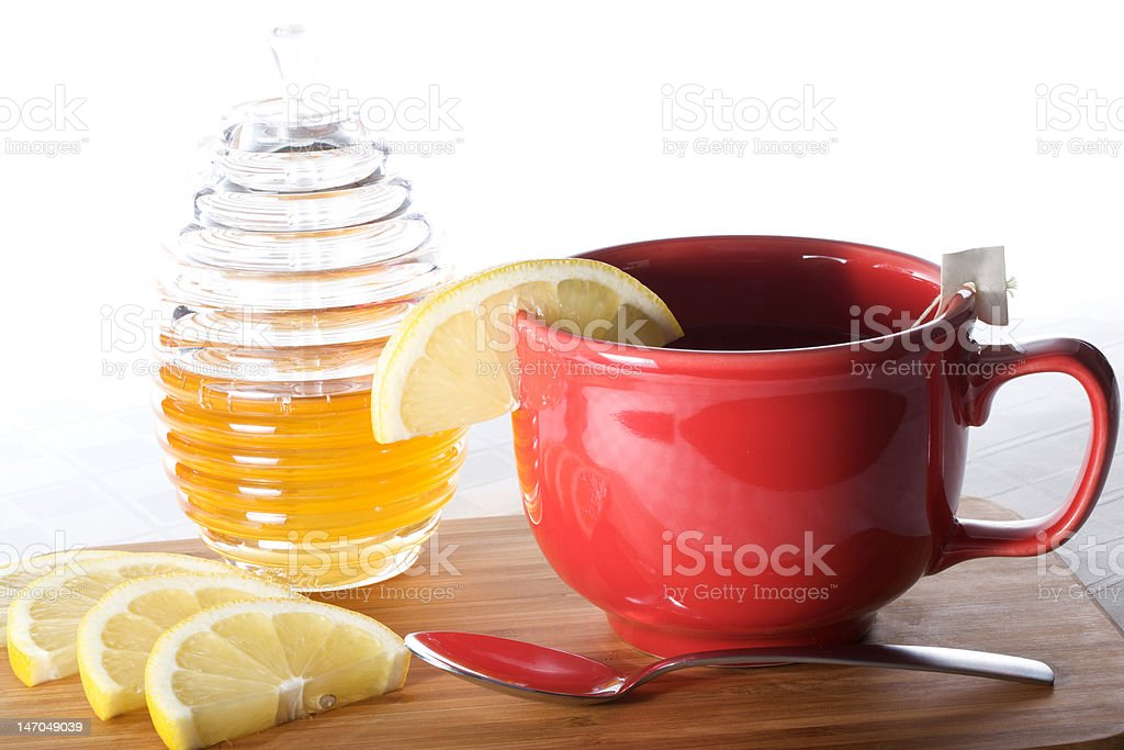 Green tea with honey and lemon stock photo