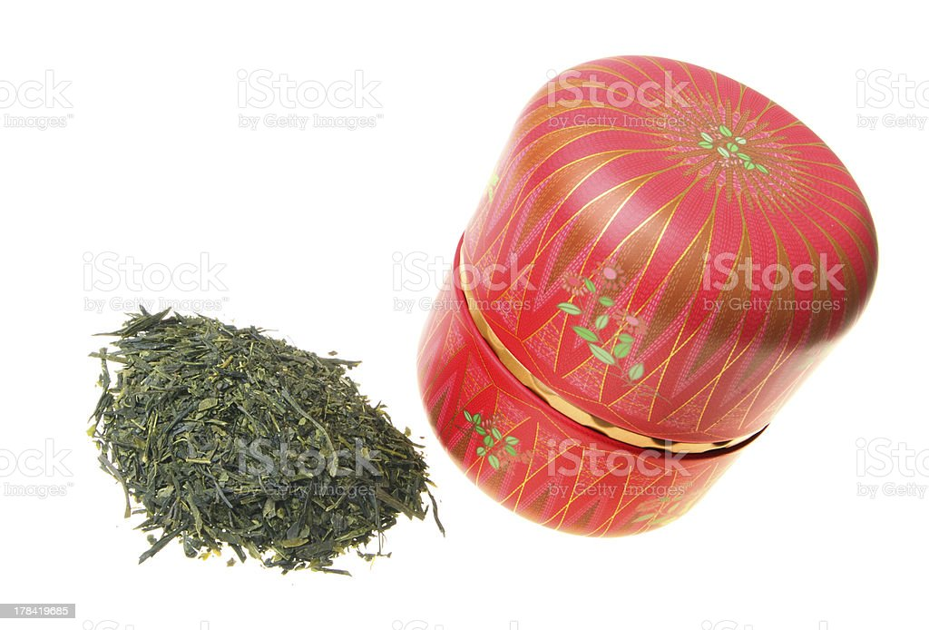 Green tea with Japanese caddy stock photo