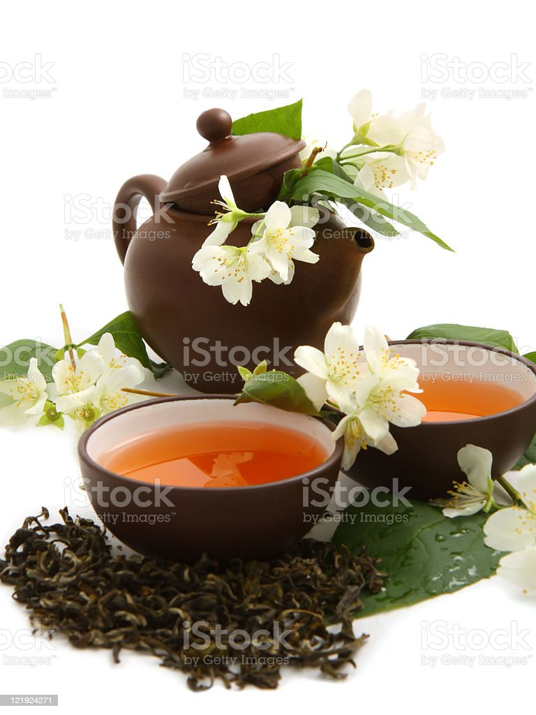 Green tea with jasmine stock photo