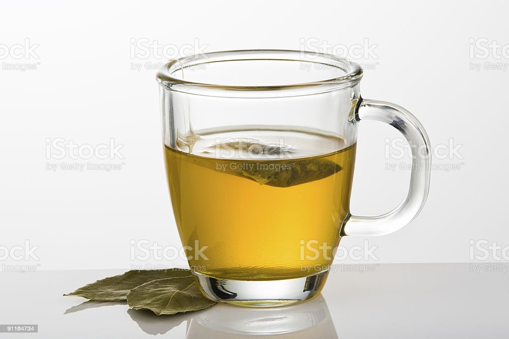Green tea with leaves royalty-free stock photo