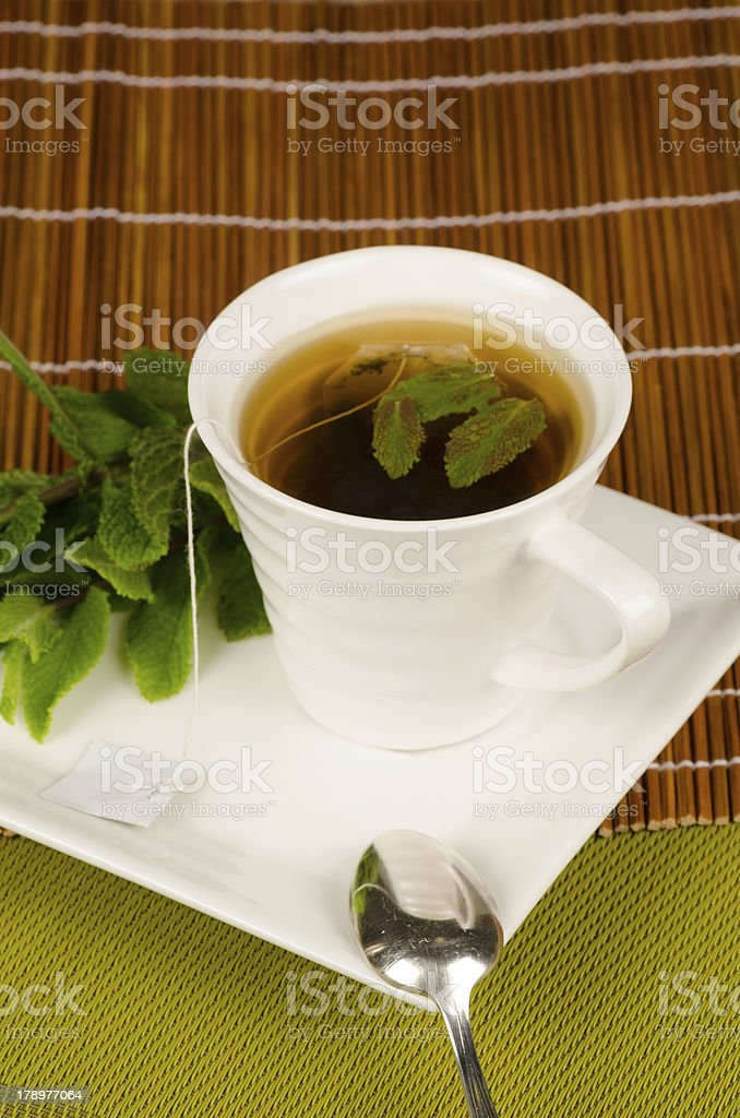 Green tea with mint royalty-free stock photo