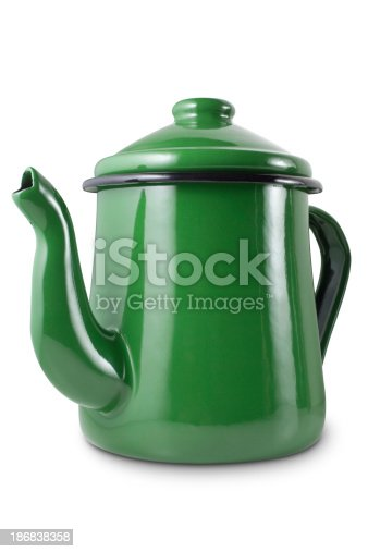 Green teapot. Photo with clipping path. To see more Cooking images click on the link below: