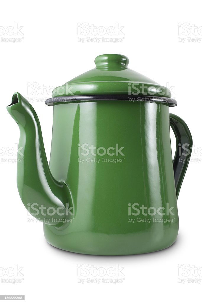 Green teapot stock photo