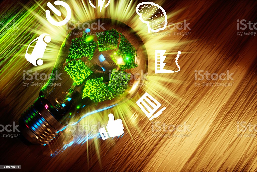 Green technology recycle sign stock photo