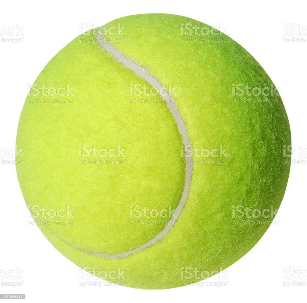 A green tennis ball on a white background stock photo