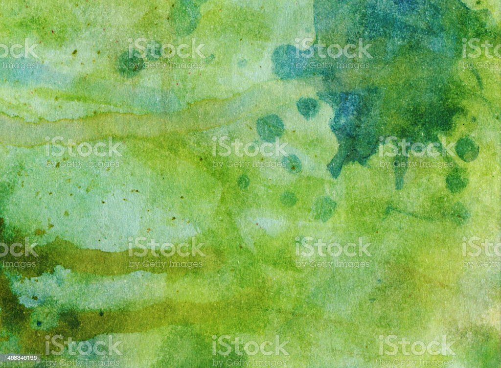 Green texture background hand painted with watercolors stock photo