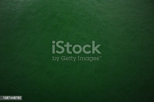 Green textured leather background. Abstract leather texture