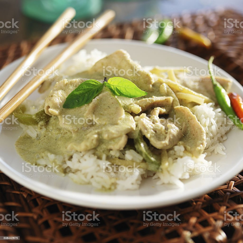 green thai curry close up stock photo
