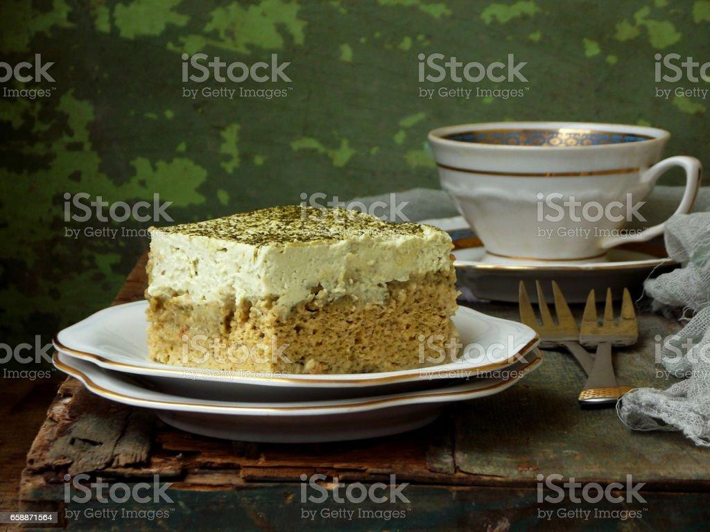 Drei Grune Milch Kuchen Mit Japanischer Tee Matcha Auf Holzernen
