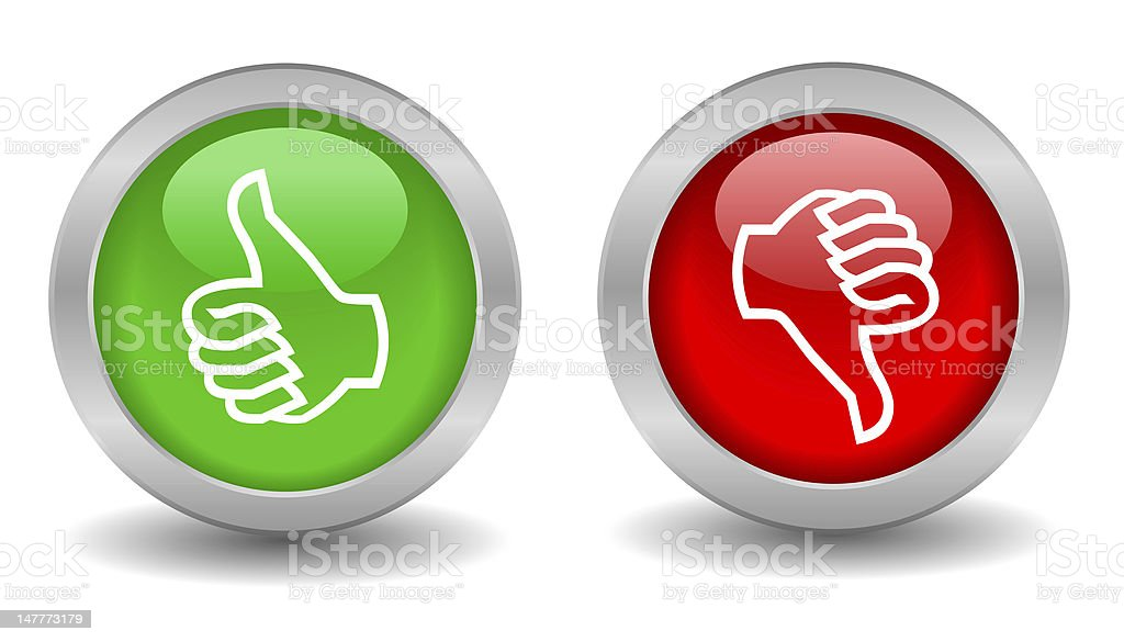A green thumbs up and red thumbs down royalty-free stock photo
