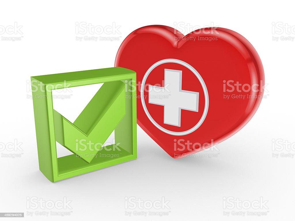 Green tick mark and symbol of medicine. stock photo
