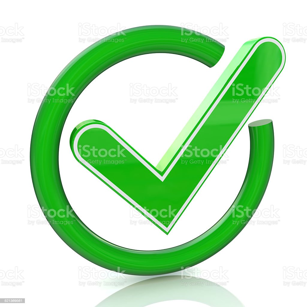 Green Tick Sign Icon 3d Glass Check Mark Symbol Stock Photo Download Image Now Istock