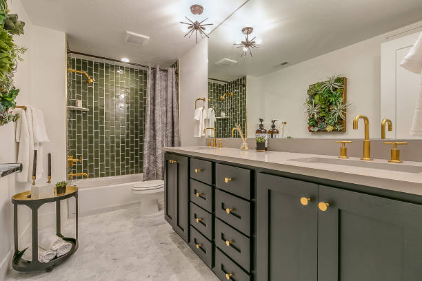 Green tile gives beauty and unique charm to this basement bathroom Green is the theme in this beautiful bathroom with brass faucets and fixtures bathroom stock pictures, royalty-free photos & images