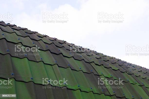 Green Tile Roof For Background Stock Photo - Download Image Now