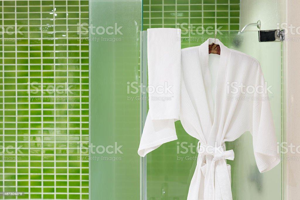 Green tiles bathroom stock photo