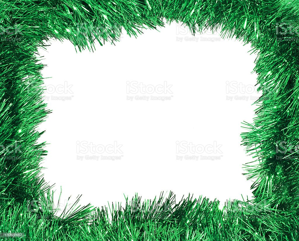 Green tinsel frame stock photo