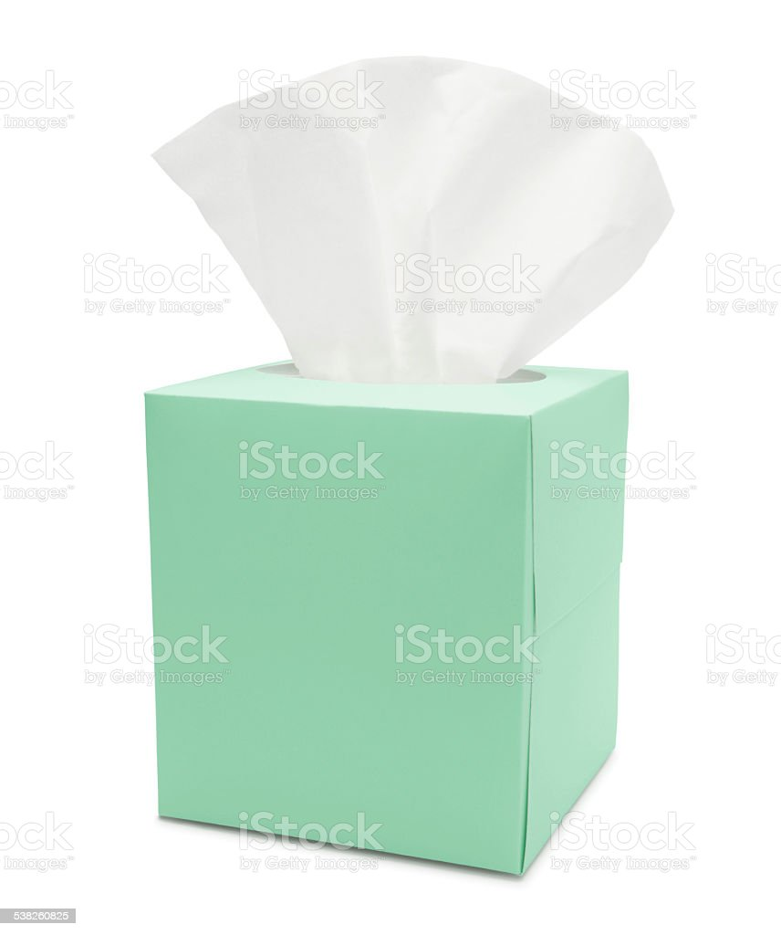 Green Tissue Paper Box (with path) stock photo