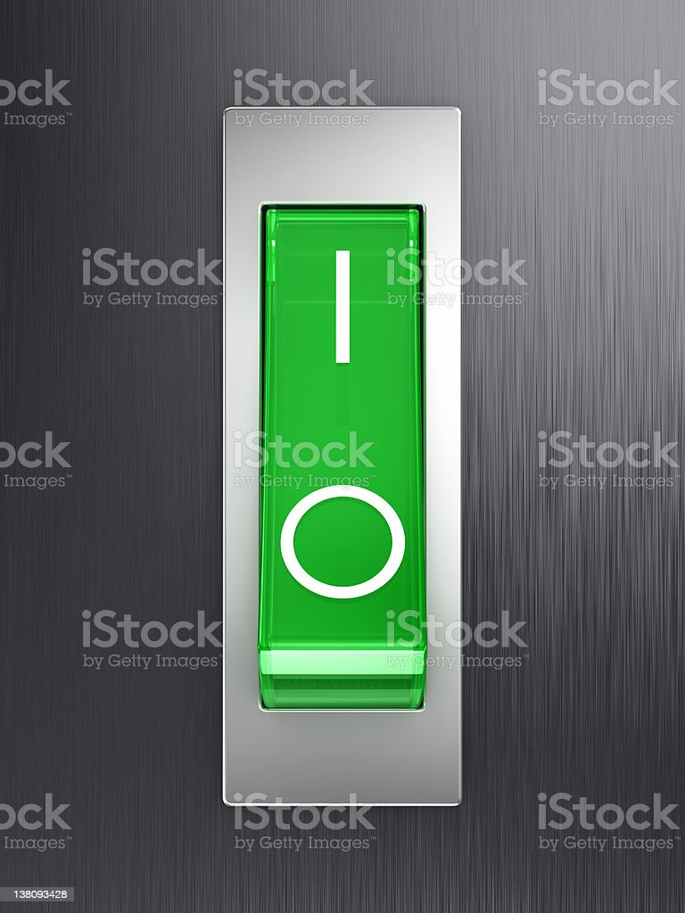 Green toggle switch stock photo