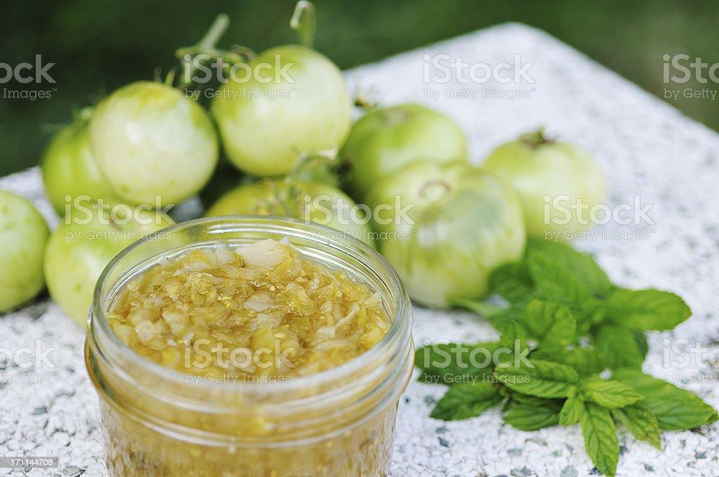green tomato chutney stock photo