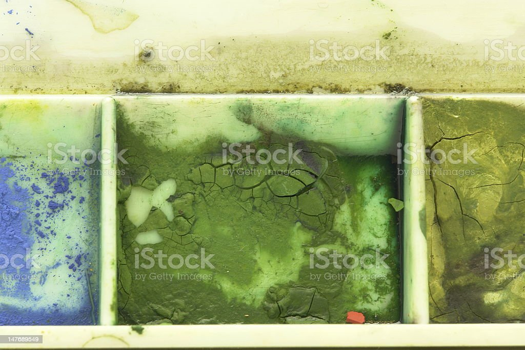 Green Toned Color Swatch Watercolor from professional artists Palette royalty-free stock photo