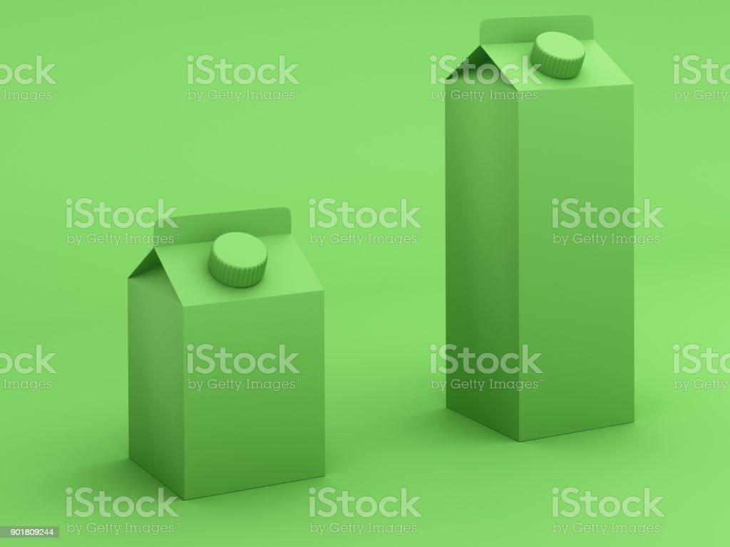 Verde tonos cajas de leche - foto de stock