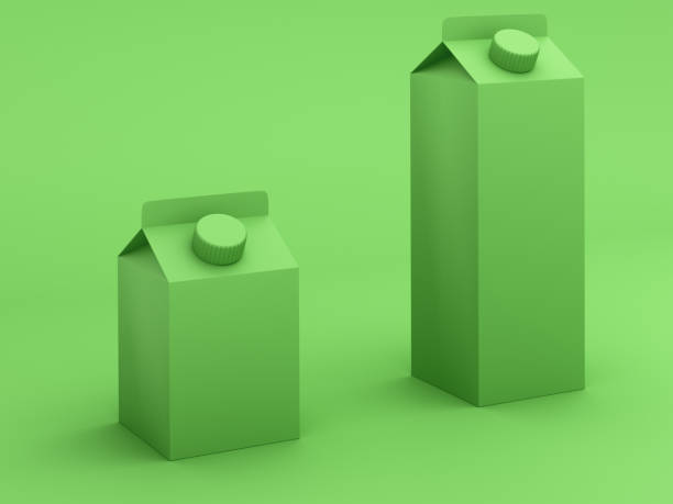 Green toned milk boxes - foto stock