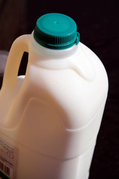 Green top milk plastic bottle stock photo