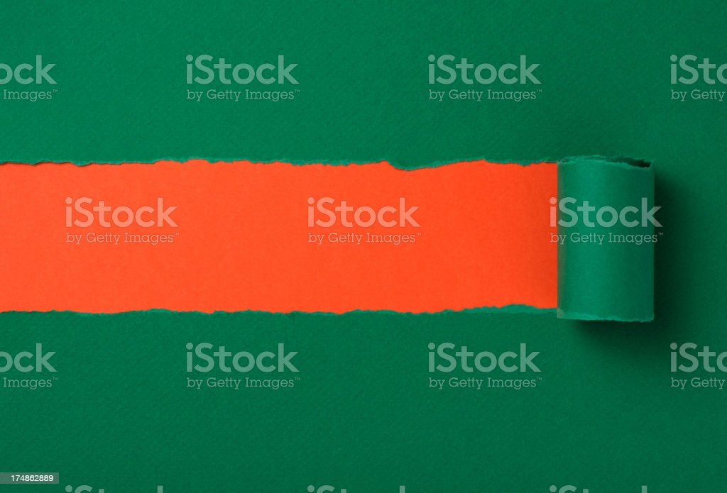 Green torn paper background royalty-free stock photo