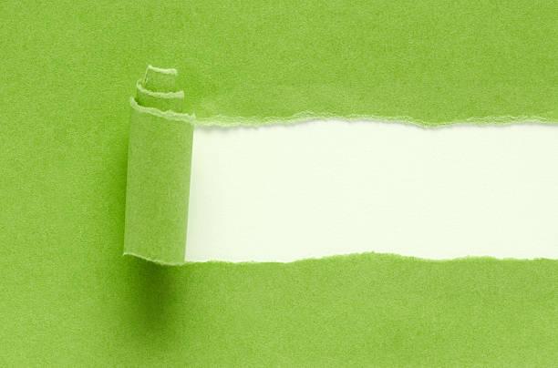 녹색 찢겨진 종이 배경기술 흰색 바탕에 그림자와 - 출현 개념 뉴스 사진 이미지
