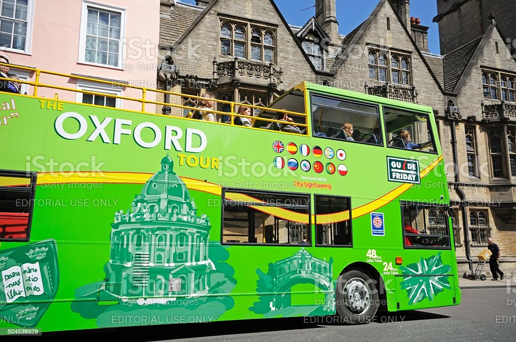 Green tour bus, Oxford. stock photo
